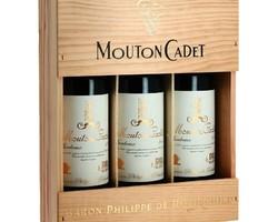 Caisse bois 3 bouteilles Mouton Cadet